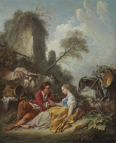 François Boucher, ''La Tendre Pastorale': A pastoral landscape with a shepherd and shepherdess'