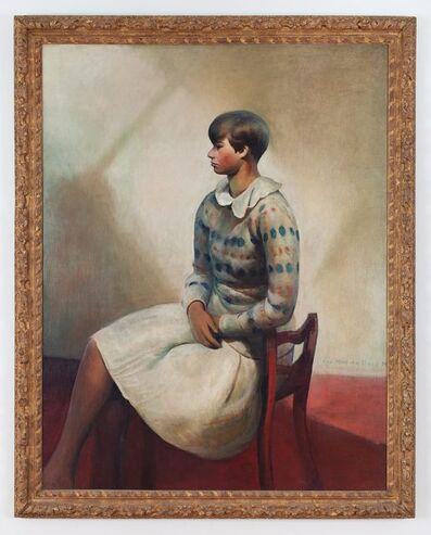 Guy Pène du Bois, 'Yvonne in Spotted Sweater (Portrait of Yvonne in Camp Chair)', 1931-1932