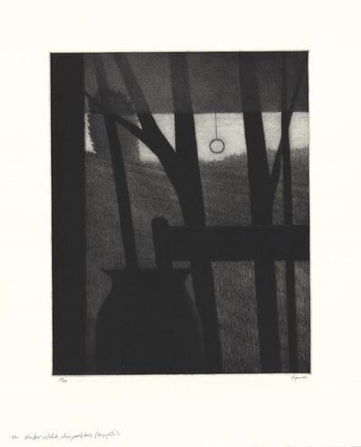 Robert Kipniss, 'Window w/shade, chair, vase & trees.  (large plate.)', 2017
