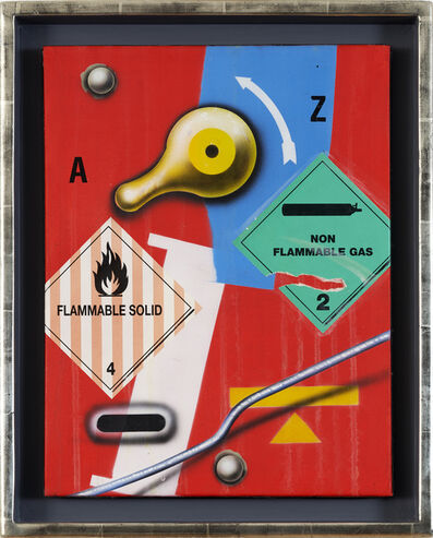 Peter Klasen, 'Flammable Solid / Non Flammable Gas / fond rouge', 1995