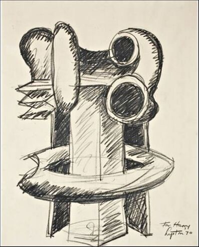 """Seymour Lipton, 'Original Drawing of """"Oracle"""", signed and dedicated to Harry N. Abrams', 1970"""