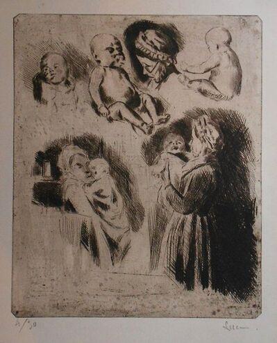 Maximilien Luce, 'Etudes de la tante Octavie et d'un bébé (grande planche)', 1895