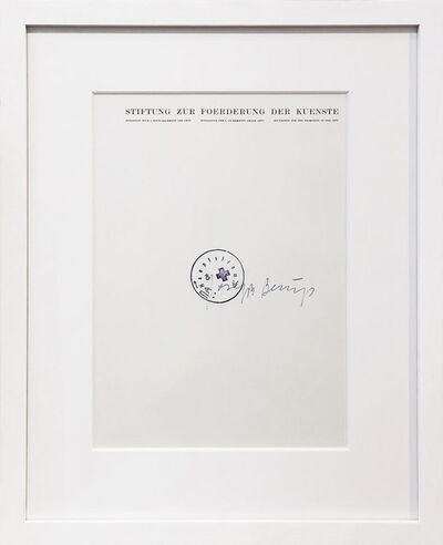 Joseph Beuys, 'Stiftung zur Förderung der Künste - Leeres Blatt', 1973