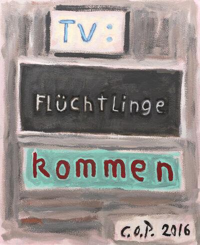 C.O. Paeffgen, 'o.T. (TV: Flüchtlinge kommen)', 2016