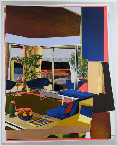 Mickalene Thomas, 'Interior: Blue Couch and Green Owl', 2016