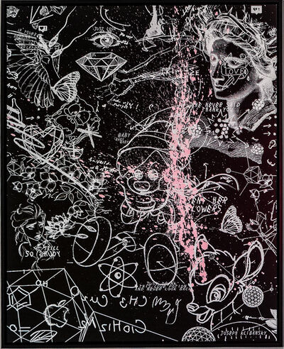 Joseph Klibansky, ' Sent Her Flowers (black, white, pastel pink splash)', 2019