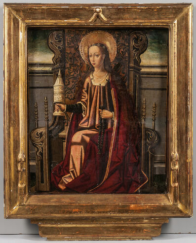 Spanish School-Aragonese, 15th Century, 'Mary Magdalene Enthroned, Holding an Unguent Jar and Rosary'