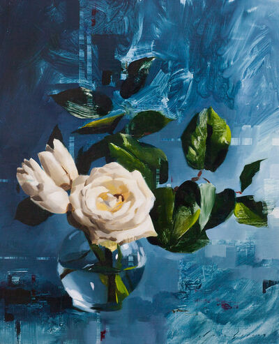 Jon Doran, 'Tulips and Rose on Blue', 2018