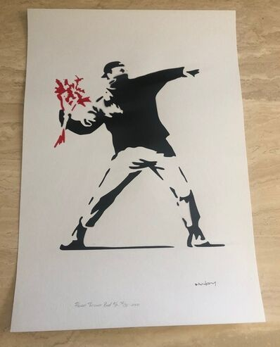 After Banksy, 'Flower Thrower-Red', 2020