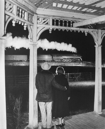 O. Winston Link, 'Mr. and Mrs. Ben Pope Watch the last steam powered passenger train, Max Meadows, Virginia', 1958