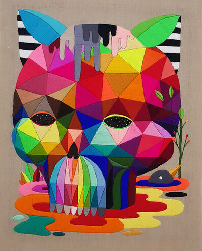 Okuda San Miguel, 'Melted Cat Skull', 2018