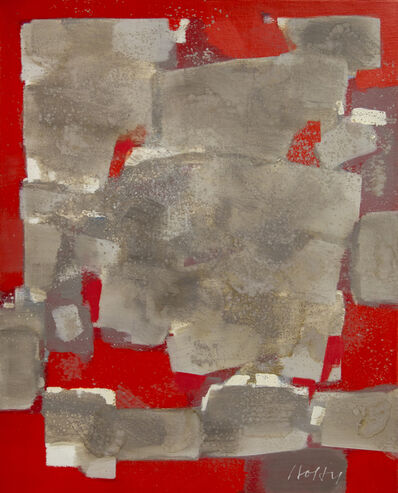 Carl Holty, 'Gray Volume in Red', 1968