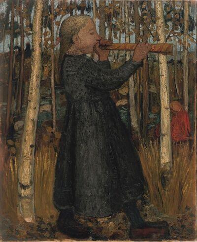 Paula Modersohn-Becker, 'Jeune Fille Jouant de la Flûte dans la Forêt de Bouleaux (ou Jeune Fille au Chalumeau) ', 1905