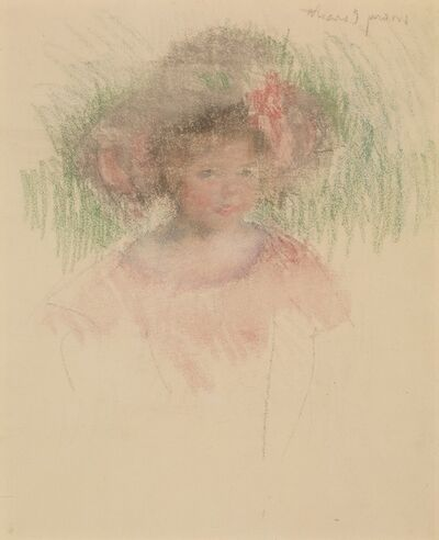 Mary Cassatt, 'Bust Length Sketch of Margot in a Big Hat and a Red Dress', ca. 1903