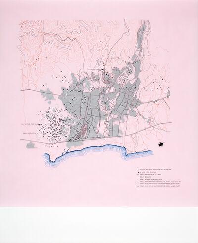 Tiffany Chung, '1946 survey – Hitachi Urban Damage Plan; Funke: Hitachi no Kuni Fudoki – poetry and the barbarians', 2016