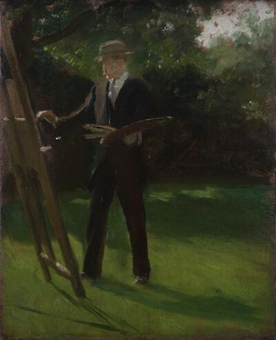 Douglas Stannus Gray, 'Self portrait painting at an easel outdoor', 1920
