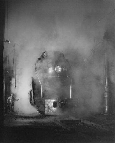 O. Winston Link, 'Washing the J Class. ShaffersCrossing Yards, Roanoke, VA', 1955