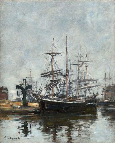 Eugène Boudin, 'Le Havre, voiliers à quai, bassin de la Barre', 1885-1890
