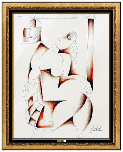 Alexandra Nechita, 'Alexandra Nechita Original Drawing Signed Cubism Portrait Petite Picasso Artwork', 2006
