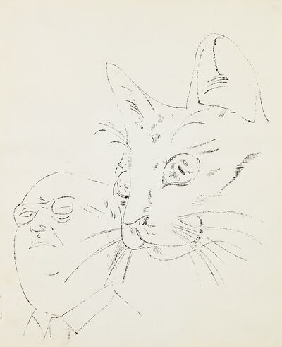 Andy Warhol, 'Portrait with Cat', 1956