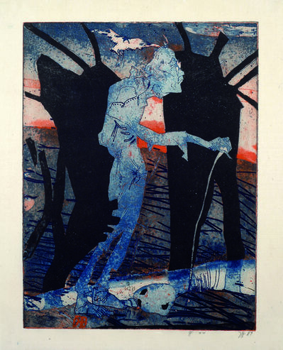 Horst Janssen, 'Friely auf dem Weg (Friely on his way)', 1989