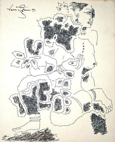 A P Santhanaraj, 'Untitled (Kneeling nude)', 1971
