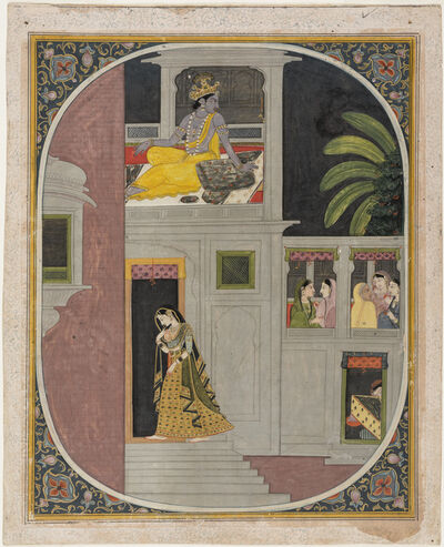 Unknown Artist, 'Radha goes to Krishna's house at night. Folio from a Rasraj.', ca. 1850