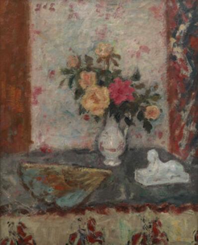 Georges d'Espagnat, 'Vase de Roses, Eventail et Sphinx', 1870-1950