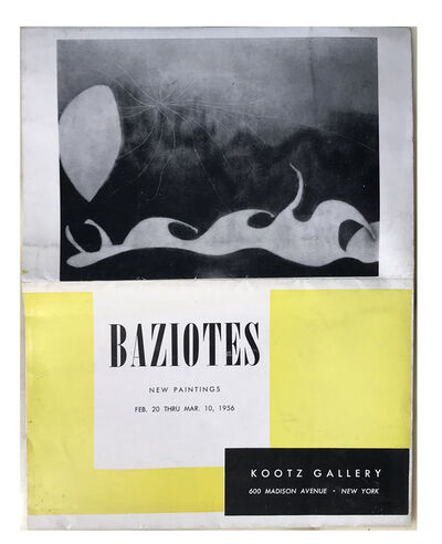 "William Baziotes, '""BAZIOTES - NEW PAINTINGS"", 1956, Kootz Gallery NY, Exhibition Invitation/Poster', 1956"