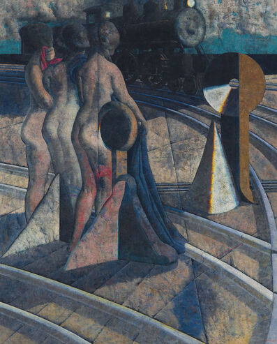 Armando Morales, 'Empalme ferroviario/Tres desnudos', 1987