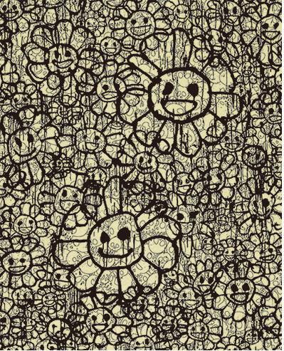 Takashi Murakami, 'Madsaki Flowers A Beige ', 2017