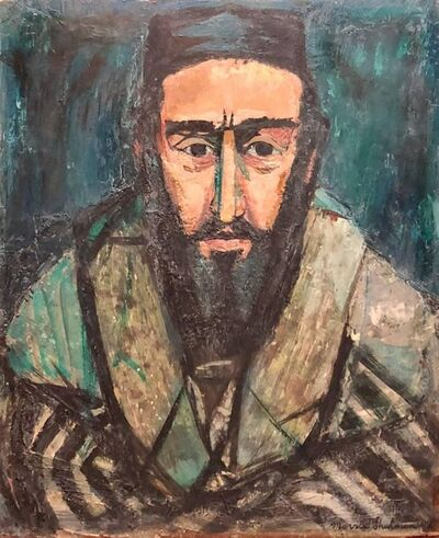 Morris Shulman, 'Judaica Rabbi Portrait Oil Painting American WPA Abstract Expressionist Artist', 1940-1949