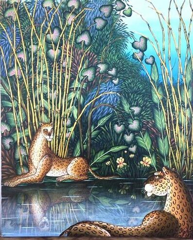 """Gustavo Novoa, 'Gustavo Novoa """"First Meeting"""" Two Leopards in a Bamboo Jungle Scene', 20th Century"""