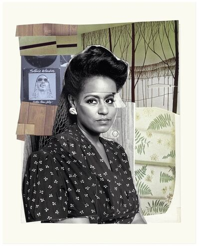 Mickalene Thomas, 'Clarivel with Black Blouse with White Ribbon', 2016