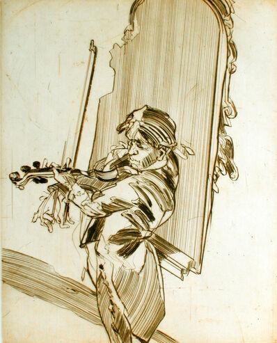 "Claude Weisbuch, '""Violoniste au miroir"" original handsigned drypoint', 2011"