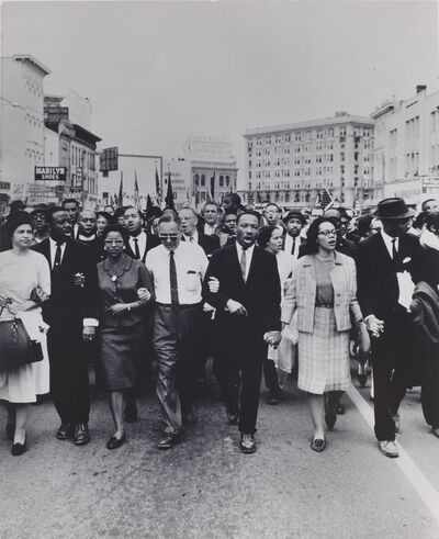 Moneta Sleet Jr., 'Rosa Parks, Dr. and Mrs. Abernathy, Dr. Ralph Bunche, and Dr. and Mrs. Martin Luther King, Jr. leading marchers into Montgomery', 1965-printed ca. 1970