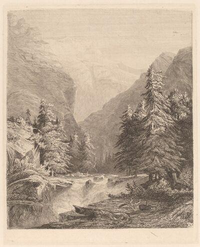 Alexandre Calame, 'Mountain Waterfall', 1838