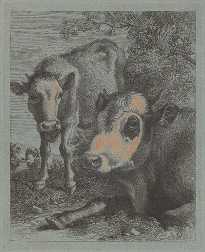 Francesco Londonio, 'Reclining Cow and Calf in the Open', 1758/1759
