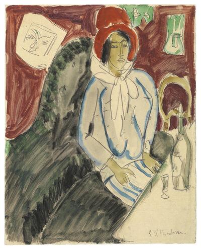 Ernst Ludwig Kirchner, 'Sitzende Frau mit einem Hut in einem Restaurant', ca. 1912