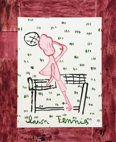 Rose Wylie, 'Tennis Player, Empty Racquet', 2017