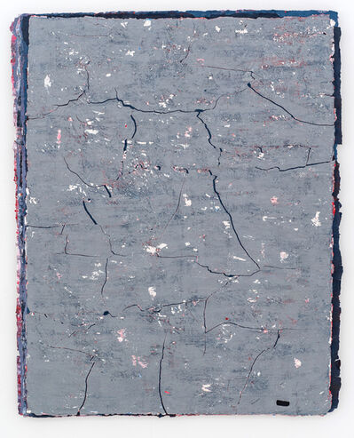 Kanchana Gupta, 'Edges and Residues 22 - Steel Blue, Cadmium Red and White on Paynes Grey and White ', 2020