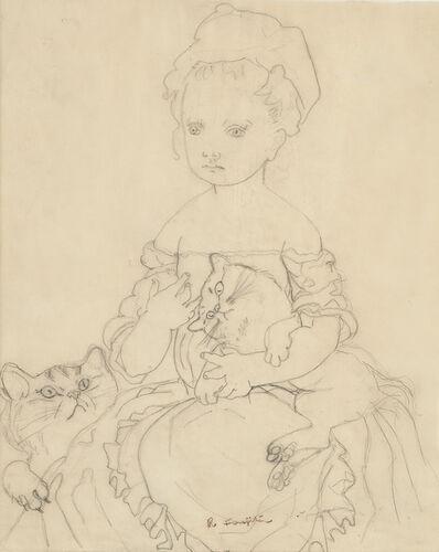 Léonard Tsugouharu Foujita, 'Petite fille avec deux chats'