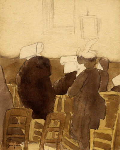 Gwen John, 'Back View of Three Nuns and Two Women in Church', probably executed 1910s