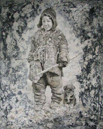 Sheng Shaopeng, 'Young Tibetan boy with his dog', ca. 2010