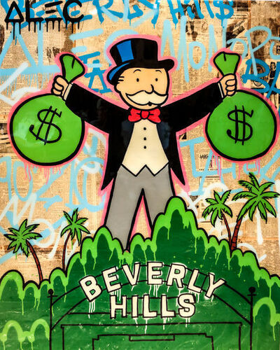 Alec Monopoly, 'MONOPOLY HOLDING 2 $ BAGS BEVERLY HILLS', 2018