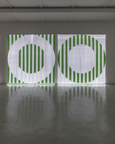 Daniel Buren, 'Quand le Textile s'éclaire : Fibres optiques tissées - AA1 vert / Quand le Textile s'éclaire : Fibres optiques tissées - BB1 vert', 2014