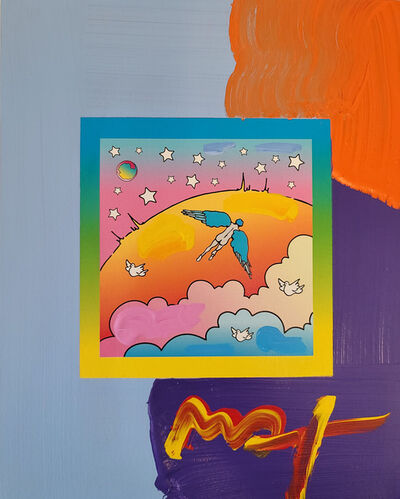 Peter Max, 'Peter Max, Angel Clouds on Blends #397 (Framed Original Painting)', 2009