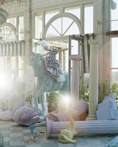 Tim Walker, 'Olga Shearer on blue horse, The Winter Garden, Sennowe Park, Norfolk, 2007', 2007