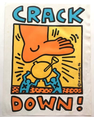 "Keith Haring, '""Crack Down"" poster', 1986"