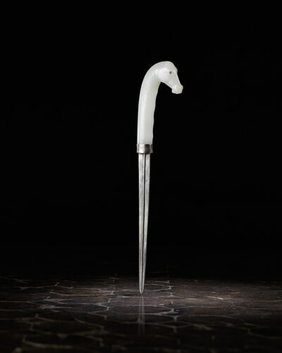 Unknown Chinese, 'A white jade dagger handle 白玉馬首匕首', 1601-1800